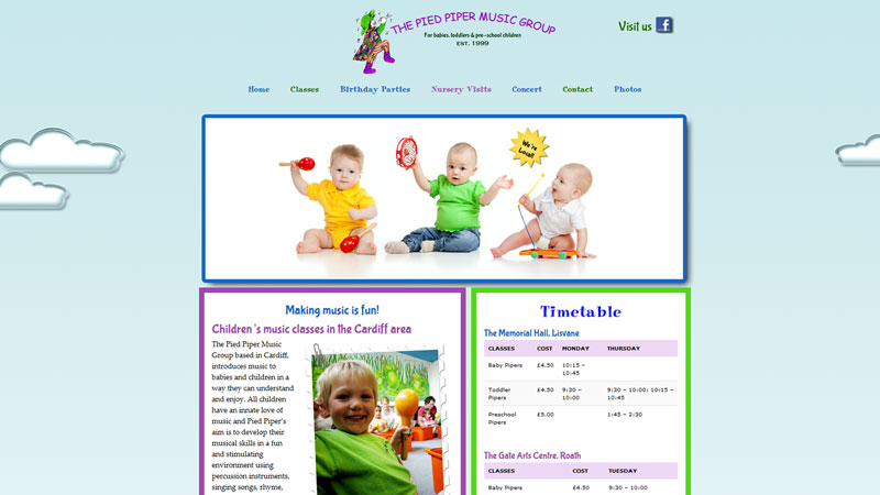 picture of a website designed for a children's music class company in Cardiff called Pied Piper Music Group