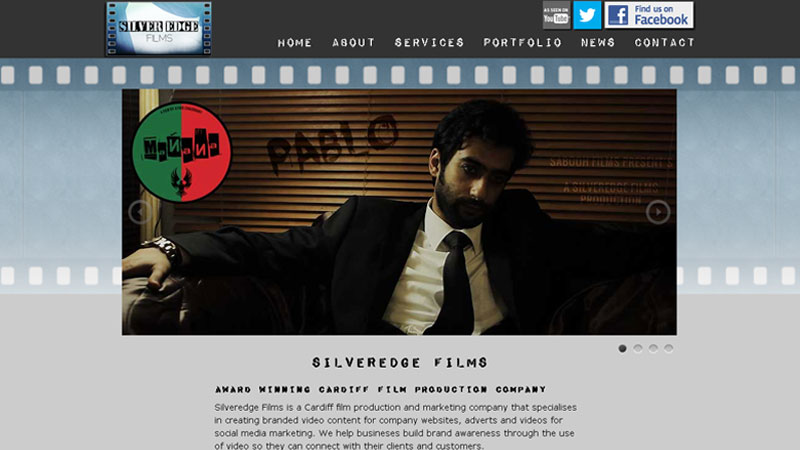 picture of a website designed for a film company in Cardiff called Silveredge Films